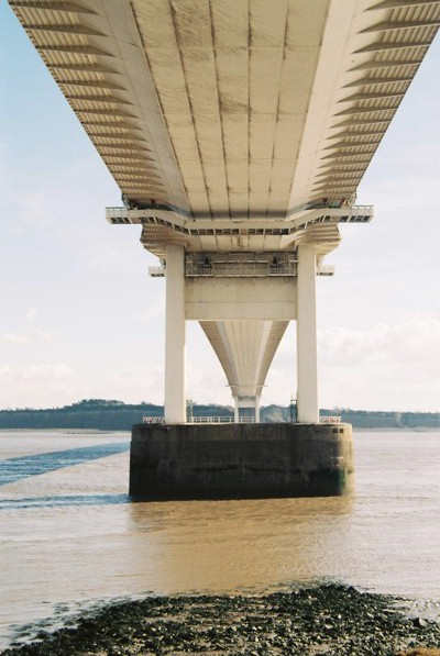 The Severn Bridge from below, at Beachley