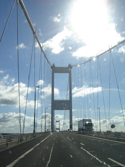 Driving from Wales on the Severn Bridge