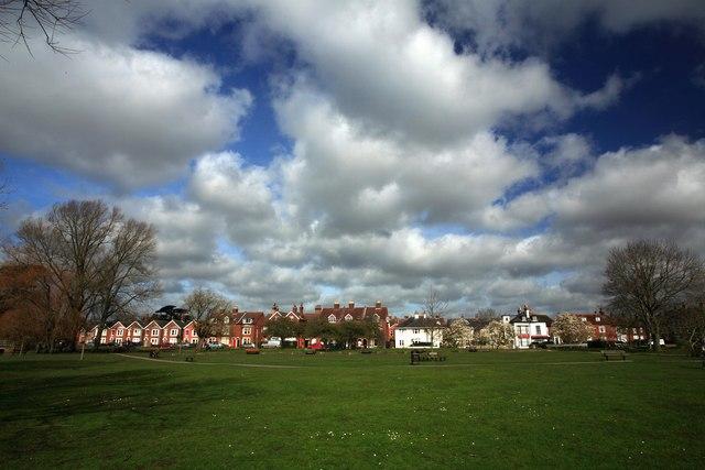 Houses lining Queen Elizabeth Garden