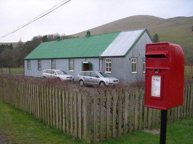 Ewes Hall & Post Box near Bush
