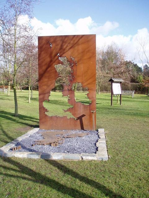Sculpture map  in Anne Hathaway's cottage garden.