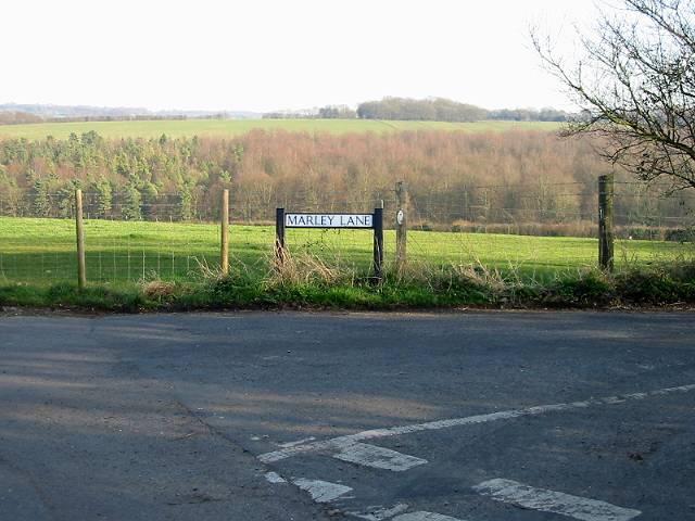 Marley Lane and countryside beyond