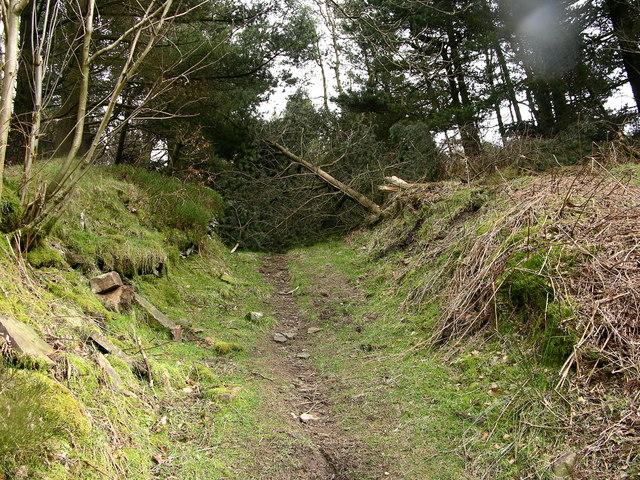 Blocked footpath - Calf Hey Reservoir