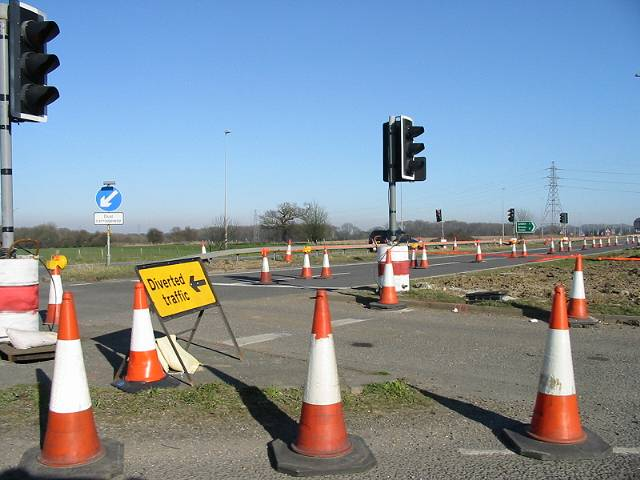Road works on the A2 at Lydden Hill junction