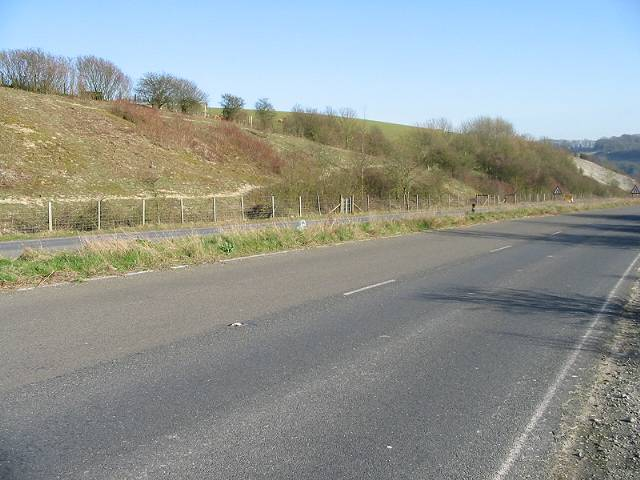 Looking SE down Lydden Hill