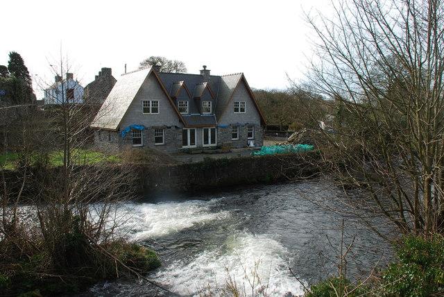 Unfinished houses beside Afon Dwyfor Llanystumdwy