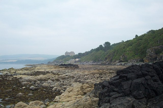 Foreshore of Culzean Bay with Culzean Castle in the distance