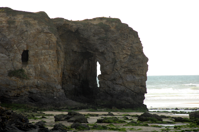 Rock formation at Perranporth beach