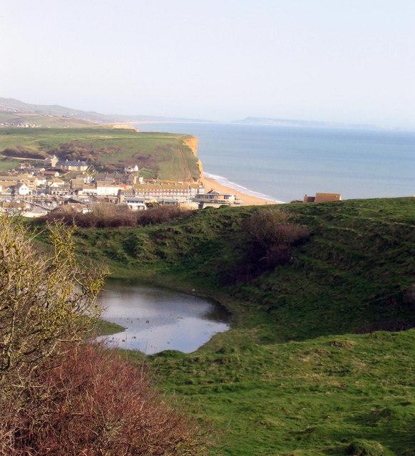 Clifftop pond overlooking West Bay