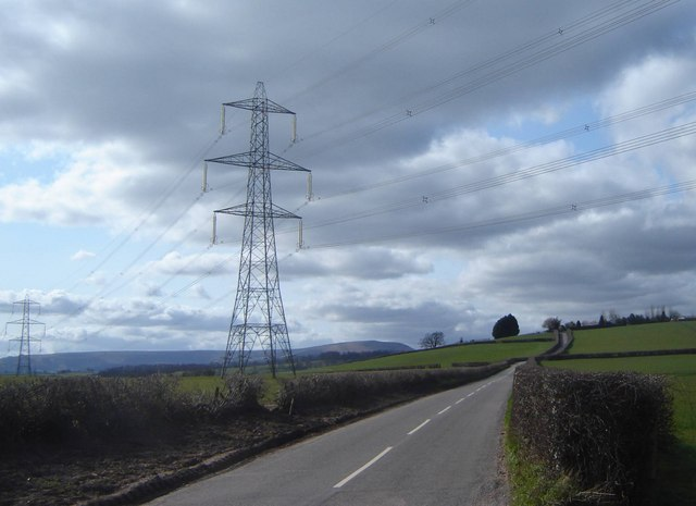 Pylon by the B4233 looking towards Llanvapley