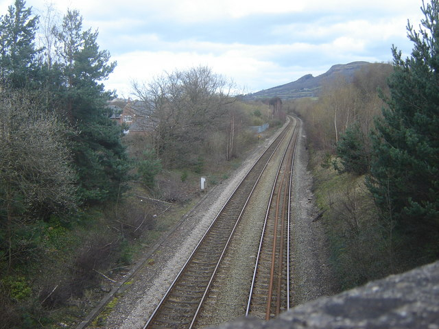 Railway at Abergavenny, going towards Hereford