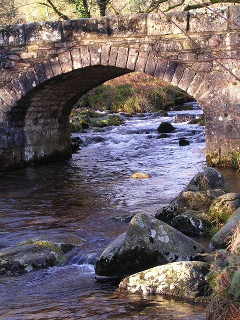 Norsworthy Bridge and tributary river feeding Burrator Reservoir
