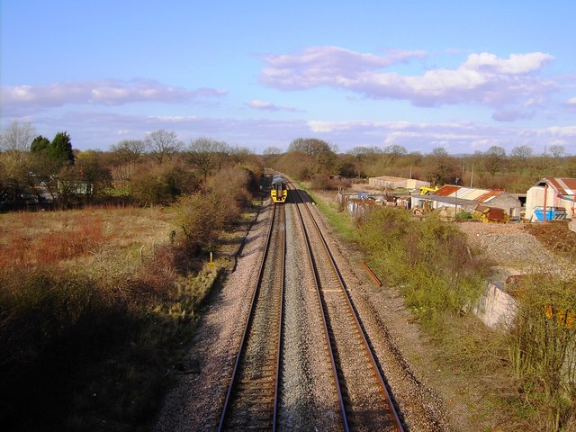 Railway line to Gloucester from Bristol, with train