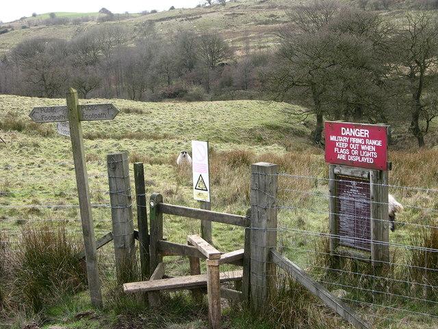 Footpath and stile near firing range