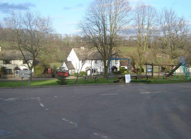 Road junction and playpark, Llanddewi Rhydderch