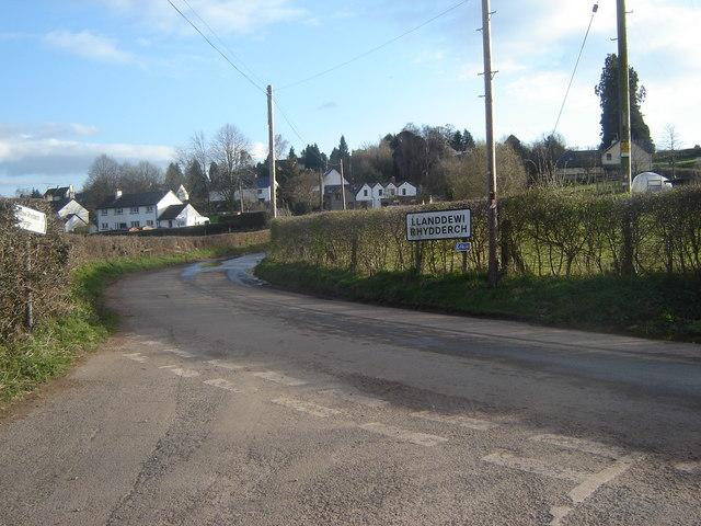 Road junction, Llanddewi Rhydderch