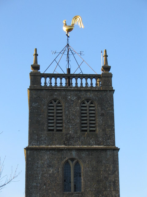 Weathercock on the tower of Priston parish  church.