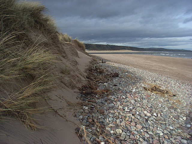 Dunes and beach at the mouth of the North Esk