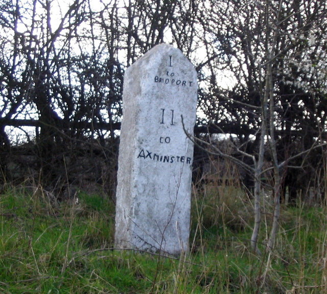 Milestone at Miles Cross on the A35