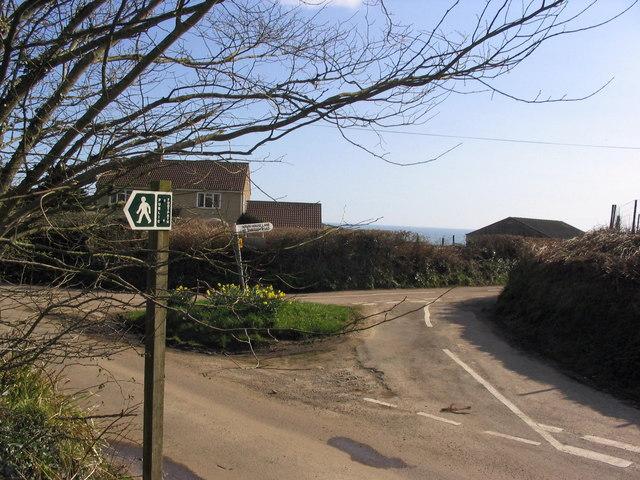 Junction of minor roads near Higher Eype