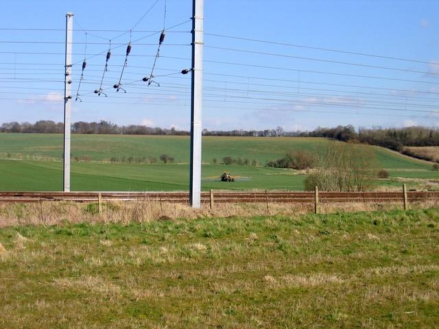 Farm fields across East Coast Mainline