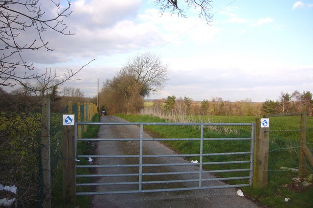 Entrance gate and lane to Sewage Works