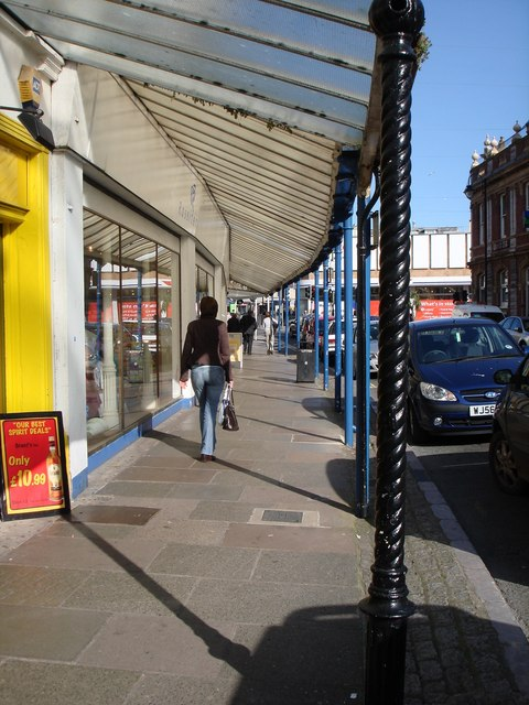 Glass covered metal shopping arcade