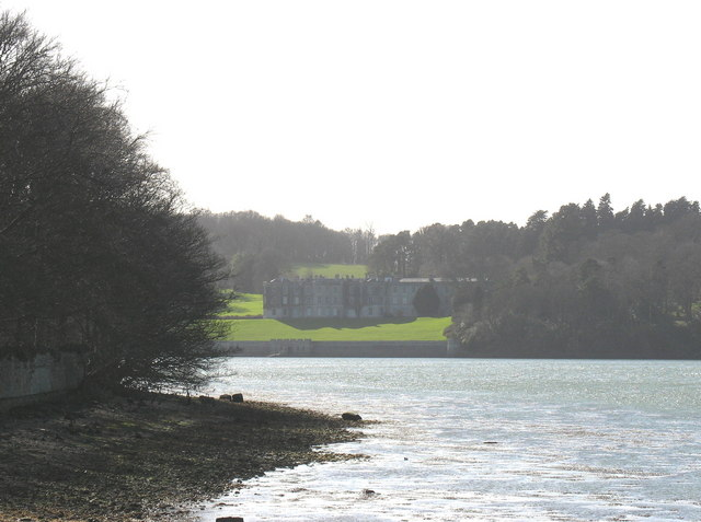 View past the end of the Boathouse Covert towards Plas Newydd