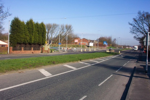Changing scene on the A49 at Goose Green, Wigan