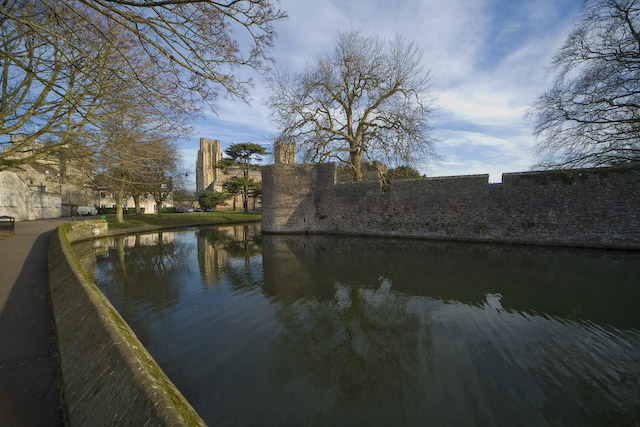 The moat around the Bishops Palace