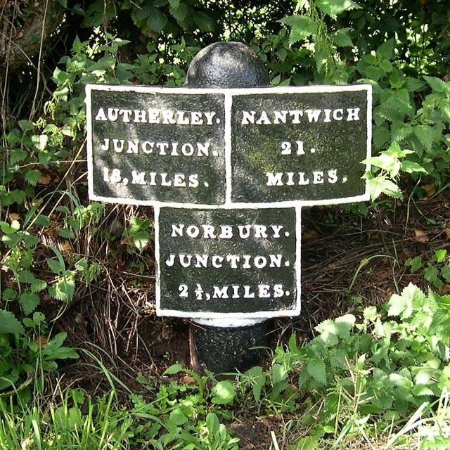 Original Milepost, Shropshire Union Canal, at High Offley