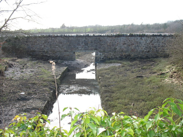 Outfall into Afon Menai of unnamed stream in Limekiln Covert