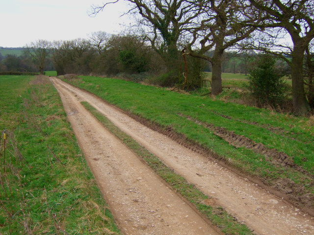 Farm road and path to Stydd  Hall