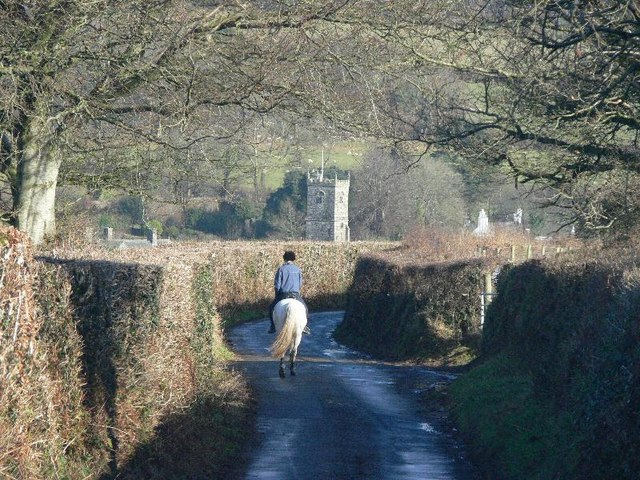 Horse rider on the road into Meavy