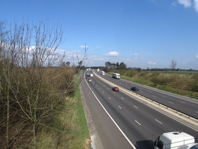 Looking north along the M11