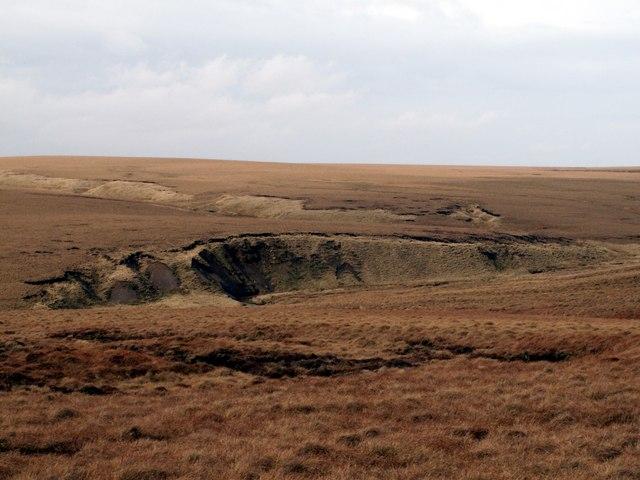 Landslip above the Pennine Way