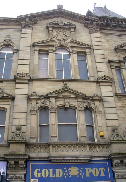 Part of the façade of Pioneer House, Halifax Road, Dewsbury