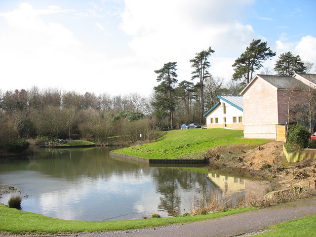 An ornamental lake at Parc Menai