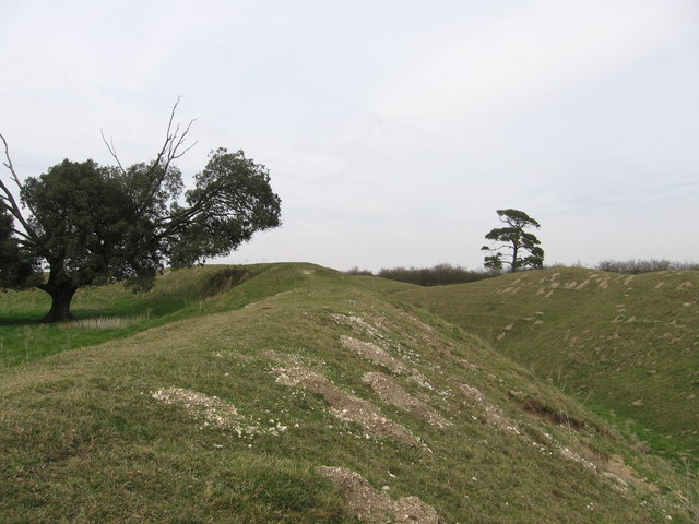 Warham Camp - inner wall and ditch