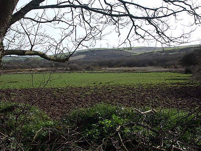 Looking through a hedge into a muddy field with Penhallow Moor in the middle ground