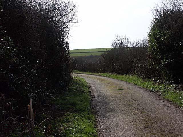 The lane to Penhallow Farm.
