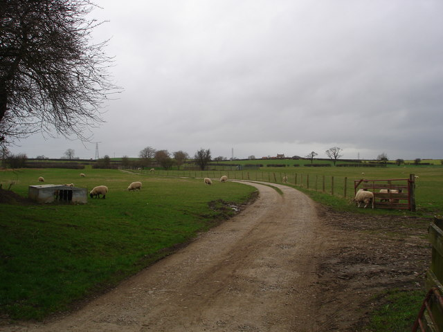 Danby Wiske. Farm track to North Farm.