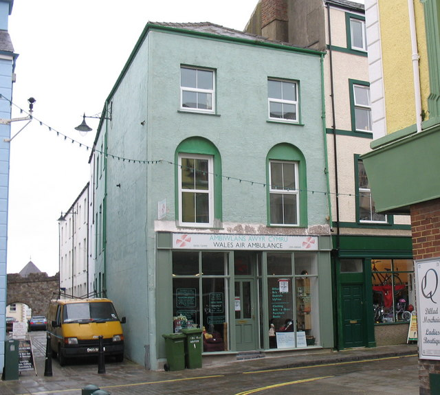 The Air Ambulance Wales charity shop on the corner of High Street and Market Street