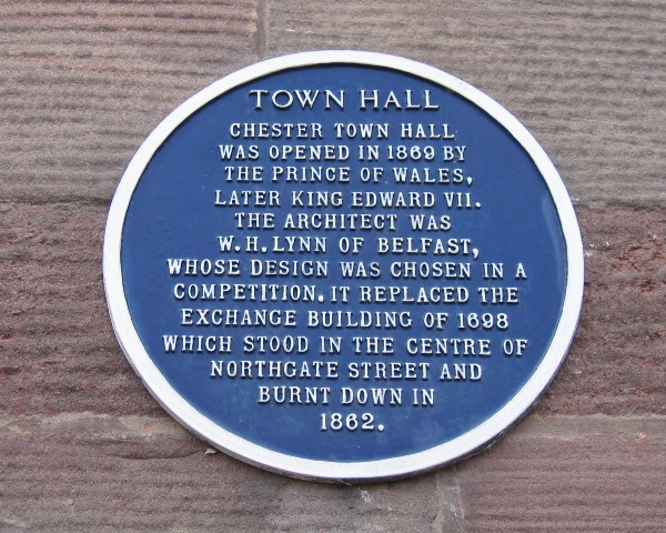 Chester Town Hall Blue Plaque