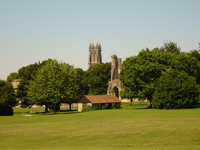 Glastonbury Abbey from the gardens