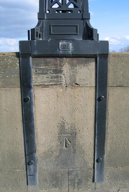 1GL Bench mark and bolt on Grosvenor Bridge