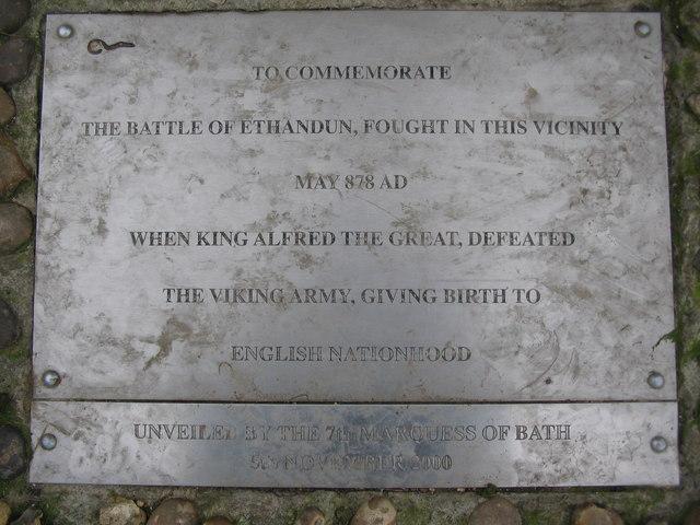 Plaque on the Ethandun memorial stone