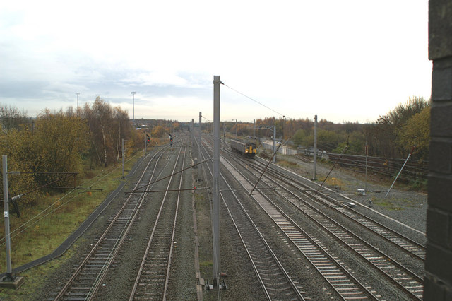 Looking South on the WCML, from Cemetery Road, Lower Ince