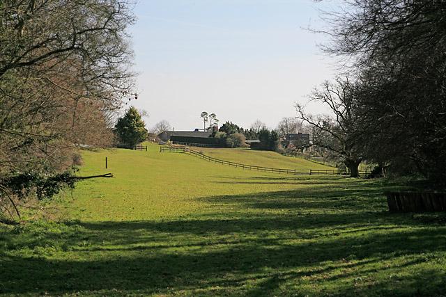 Looking across fields to Whelpley Farm
