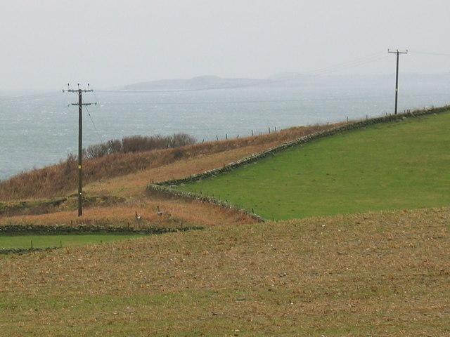 Farmland at South Putechantuy looking to Gigha.